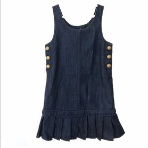GAP 1969 Kids Dark Wash Denim Jumper Pleated Skirt